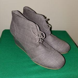 Grey Woven Wedge Booties